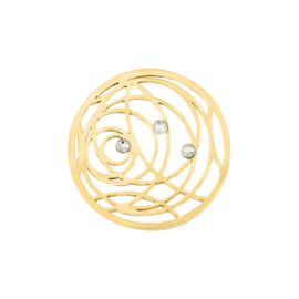 Goudkleurige Cirkel Munt met Zirkonia's van MY iMenso