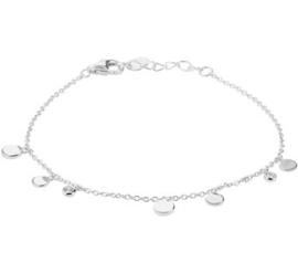 Zilveren Armband met Ronde Schijfjes en Zirkonia 1,2 mm 16,5 + 2 cm