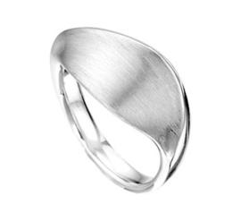 Zilveren Dames Ring met Bladvormig Mat Oppervlak