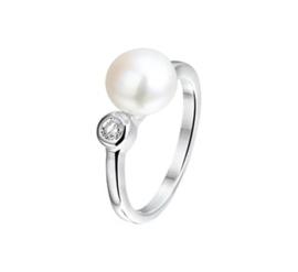 Zoetwaterparel Ring van Gerhodineerd Zilver met Zirkonia