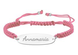 Roze Naamplaatje Armband > Names4ever