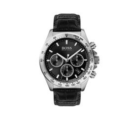 Hugo Boss Horloge Hero Zilverkleurig Horloge met Zwart Lederen Band van Boss