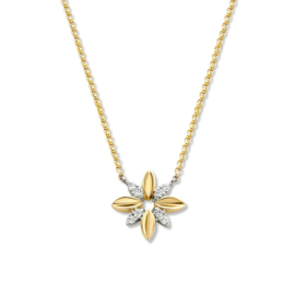 Excellent Jewelry Collier met Bloem Hanger met Diamanten