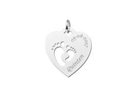 Opengewerkte Hartvormige Naamhanger van Zilver | Names4ever