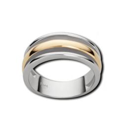 Zilverkleurige Drie Stroken Ring met Goudkleurige Coating van M&M