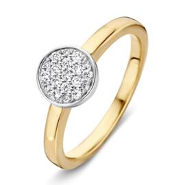 Excellent Jewelry Gouden Ring met Witgouden Rondje en 0,19 crt. Diamanten