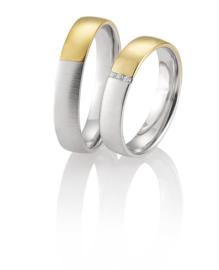 Basic Gouden Kama Trouwringen Set met Diamanten Lijn