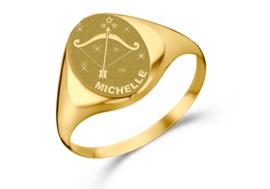 Gouden Zegelring Ovaal met Horoscoop en Naam | Names4ever