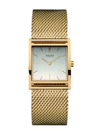 Goudkleurig Rechthoekig M&M Horloge voor Dames met Milanese Horlogeband