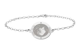 Zilveren Armband met Ovaalvormige Stier Sterrenbeeld Naamhanger > Names4ever