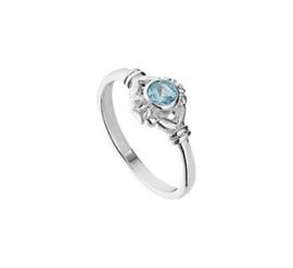 Zilveren Ring voor Kinderen met Kopstuk en Blauwe Strass Steen