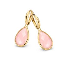 Excellent Jewelry Geelgouden Creolen met Druppelvormige Roze Opaal