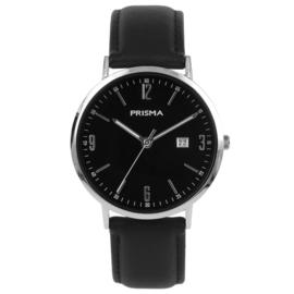 Zilverkleurig Heren Horloge met Zwart Lederen Horlogeband en Zwarte Wijzerplaat