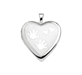 Afsluitbaar Hartvormig Foto Medaillon van Zilver met Decoratie