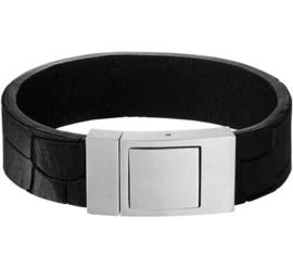 Zwart Lederen Armband met Edelstalen Sluiting - Graveer sieraad