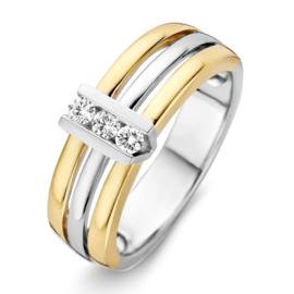 Excellent Jewelry Bicolor Drie Stroken Ring met Briljanten in V-vorm
