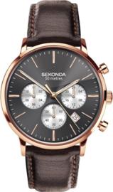 Sekonda Roségoudkleurig Heren Horloge met Grijze Wijzerplaat