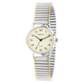Zilverkleurig Dames Horloge met Rekband en Goudkleurige Elementen