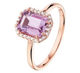 Roségouden Ring met Amethist en Diamanten