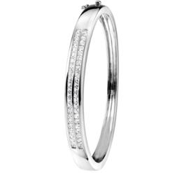 Dubbele Zirkonia Lijn Zilveren Bangle armband
