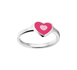 Ring van Zilver voor Kinderen met Rode en Roze Emaille