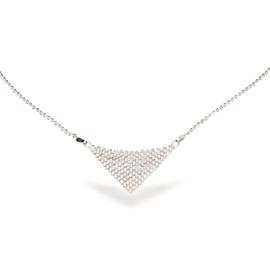 Classy Zilveren Ketting met Witte Glaskristallen