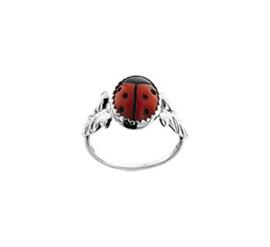 Zilveren Ring voor Kinderen met Breed Lieveheersbeestje Kopstuk