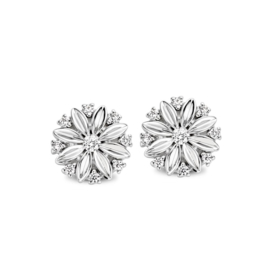 Excellent Jewelry Witgouden Bloem Oorstekers met Diamanten