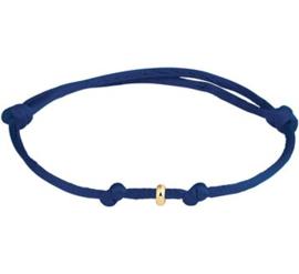 Donkerblauwe Armband van Satijn + Gouden Ringetje