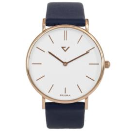 Prisma Roségoudkleurig Heren Horloge met Blauw Lederen Horlogeband