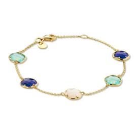 Excellent Jewelry Geelgouden Armband met Aquamarijn en Jade