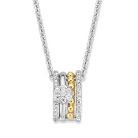 Excellent Jewelry Collier met Geelgouden en Zilveren Zirkonia Hanger