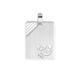 Rechthoekige Schorpioen Sterrenbeeld Graveer Hanger van Zilver