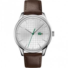 Zilverkleurig Vienna Heren Horloge met Bruin Leder van Lacoste