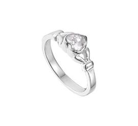 Zilveren Ring voor Kinderen met Decoratief Zirkonia Hart Kopstuk / Maat 13