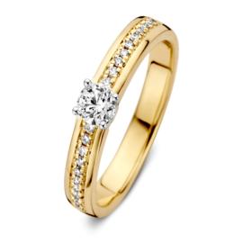 Excellent Jewelry Bicolor Ring met 0,30 crt. Briljanten