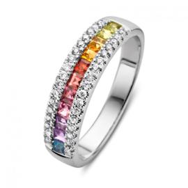 Excellent Jewelry Witgouden Ring met Kleurstenen en Briljanten