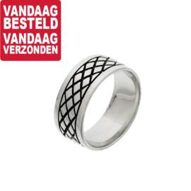 Zilveren Ring voor Heren met Rhodium en Epoxy / Maat 19,7