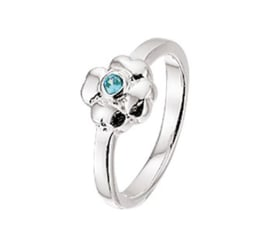 Zilveren Ring voor Kinderen met Bloem en Blauwe Zirkonia