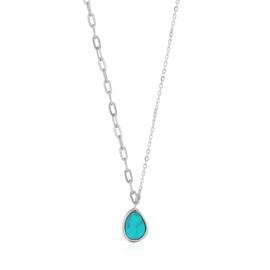 Ania Haie Turning Tides Zilveren Schakelketting met Turquoise Hanger