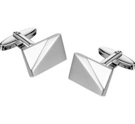 Moderne Manchetknopen van Gerhodineerd Zilver met Verhoogd Mat Vlak