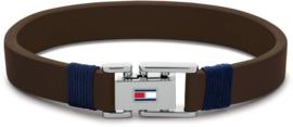 Bruine Lederen Heren Armband van Tommy Hilfiger