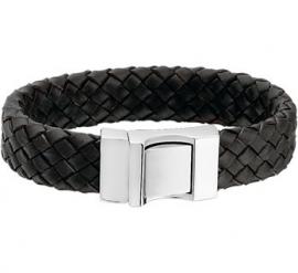 Robuuste Gevlochten Armband van Zwart Leer - Graveer sieraad