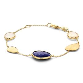 Excellent Jewelry Geelgouden Armband met Blauwe Aventurijn