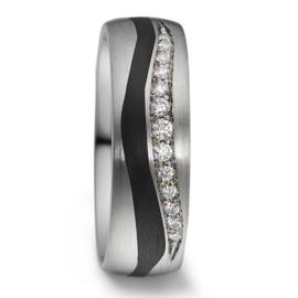 Robuuste Dames Trouwring van Zilver met Carbon en Diamanten