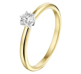 Geelgouden Ring met Diamant en Witgoud