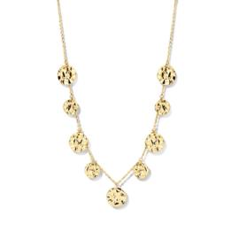 Excellent Jewelry Gouden Collier met Gehamerde Coins