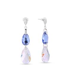 Spark Double Drop Oorhangers met Lichtblauw en Wit Swarovski Kristal