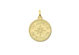 Names4ever Ronde Gouden Graveerhanger met Kompas GMNH016