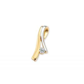 Excellent Jewelry Geelgouden met Witgouden Hanger met Zirkonia
